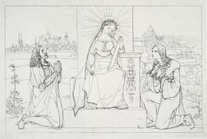 Abb. 5: Georg Carl Hoff nach Franz Pforr, Dürer und Raffael vor dem Thron der Poesie