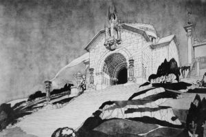 Fig. 8: Enrico Agostino Griffici ed Enrico Mezzanotte, Concorso per il Monumento al Fante sul Monte San Michele al Carso (Gorizia), 1920, prima versione