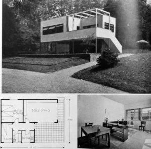 Fig. 9: Enrico Agostino Griffini, con Piero Bottoni ed Eugenio Giacomo Faludi (Jakab Floh), Colonia di case per vacanze: Casa per spiaggia marina, V Triennale di Milano, Parco Sempione, 1933