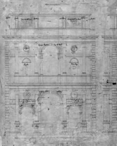 Abb. 15: Gottfried Semper, Entwurf für die Gestaltung des Mittelrisalits der Dresdener Gemäldegalerie