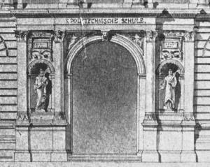 Abb. 17: Alexander von Tritschler, Fassadenzeichnung für den Erweiterungsbau des Polytechnikums in Stuttgart, Ausschnitt mit Hauptportal
